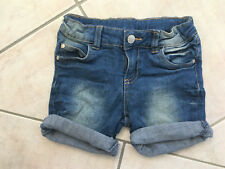 Size 4 Girls Stressed Stretch Denim Shorts w Cuffs Fly & Stud Silver Heart Motif