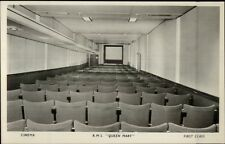 RMS Steamship Queen Mary Interior Real Photo Postcard MOVIE THEATRE