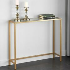 Narrow Console Table Gold Slim Small Glass Top Glam Modern Metal Sofa Entry Hall