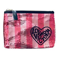 "NWT Victorias Secret ""LOVE VICTORIA "" Sequin Bling Makeup Bag Pouch Pink Striped"