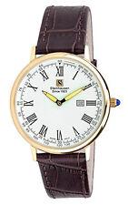 Steinhausen Men's Swiss Quartz Rose Gold Tone S. Steel Brown Leather Watch S0118