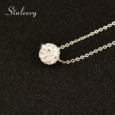Delicate Design Micro Paved Crystal Ball Choker Necklace Female White Gold Chain