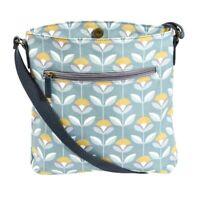 Floral Crossbody Shoulder Bag Pale Blue Yellow Flowers Oilcloth Across Body Bag