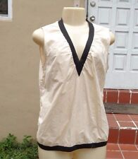MARNI for H&M Cream Black Contrast Trim V Neck Sleeveless Cotton Top Sz 12