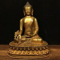 "8"" Chinese Tibet old antique bronze gilt gold handmade Medicine Buddha statue"