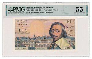 FRANCE banknote 10 Nouveaux Francs 4.10.1962. PMG AU 55 About Uncirculated