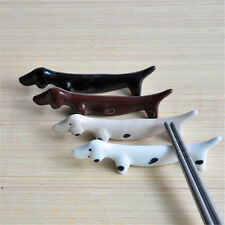 2PCS Ceramics Dachshund Dog Chopstick Stand Rack Spoon Fork Chopsticks Holder