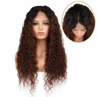 Dark Brown Ombre Wigs Virgin Remy Human Hair Curly Full Lace Front Wigs Two Tone