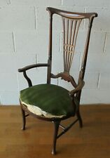 ANTIQUE NOUVEAU MAHOGANY HIGH BACK QUEEN ANNE SPLAT BACK ELBOW ARM CHAIR PROJECT