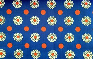 Vintage 60s 70s Retro Flower Power Polka Dot Daisy Fabric Cotton Fabric