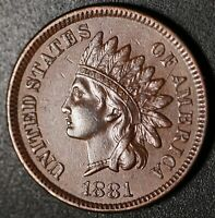 1881 INDIAN HEAD CENT - With LIBERTY & DIAMONDS - XF EF+