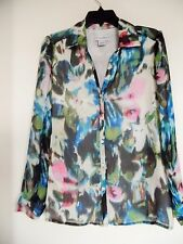 Ladies Sag Harbor Top Size M Lined Button Down Polyester Machine Wash Multi EUC!
