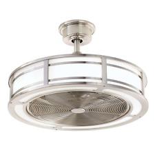 Damp Outdoor/Indoor Led Drum Patio Ceiling Fan + Remote Unique Brushed Nickel