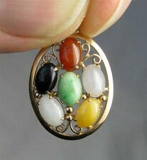 Lavender Jade 14K Gold Necklace Pendant Carnelian Onyx Jade Great!