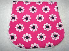 White Flowers On Pink Burp Cloth Handmade