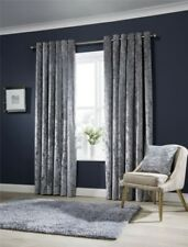 Designer Crushed Velvet Curtains, Fully Lined Anneau Top Eyelet Curtain Pair
