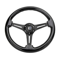 "Hiwowsport 14"" Black Wood Steering Wheel 6 Bolts 1.75"" Depth  Aluminium Spokes"