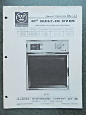 Westinghouse Built - In Oven 21 inch Parts Catalog  RG-153 October 1966