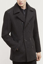 NWT【L】【$220】 NEW Kenneth Cole Men's Gray Wool Pea Coat Leather Shoulders *LAST**
