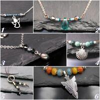 Edelstahl Halskette-Leder mit Glasperlen und Engel,Muschel, Pfeilspitze Anhänger