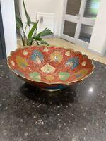 Vintage Enamel Brass Bowl Asian Indian Red Etched Relief Dish Cloisonné 19cm