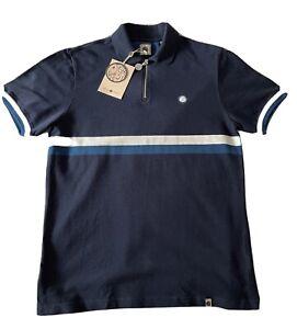 Pretty Green Mens Blue Billy Zip Polo Shirt Medium (new)