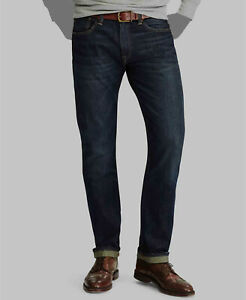 $169 Polo Ralph Lauren Mens Blue Jeans Relaxed Straight Denim Pants Size 34W 30L