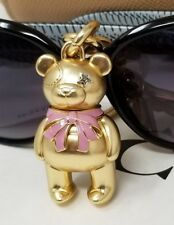 NEW COACH F27696- 3D Pink BOW BEAR KEY CHAIN/ RING  IN Gold /Pink NEW