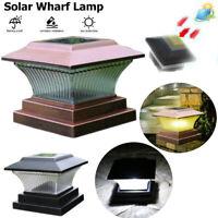 LED Solar Powered Deck Post Light Cap Square Fence Landscape Lamp Garden Outdoor