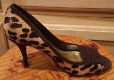 Ralph Lauren Brown Suede/Leopard Calf Hair Open-toe Pump, 8M - $129