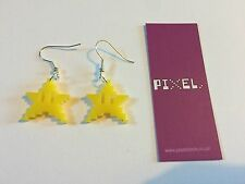 Super Mario Style Superstar Yellow Earrings Retro Gaming Video Games Pixel Stars