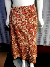 "Size 22W East 5Th brown orange pink paisley W/lining skirt Waist  42"" X Len 36"""