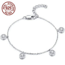 PRETTY CUBIC ZIRCONIA ANKLE CHAIN 925 STERLING SILVER BRACELET 8.5""