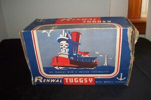 Vintage 1940s Renwal Tugsy Tuggy Toy Tugboat # 128 Box Rare