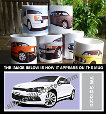 VW SCIROCCO CAR ART MUG. CHOOSE YOUR CAR COLOUR. ADD YOUR REG PLATE!