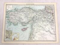 1909 Antique Map of Armenia Asia Minor The Bosporus Smyrna Cyprus George Philip