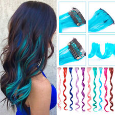 "10x Fashion Mix Clip In Hair Extension Rainbow 20"" Wavy Synthetic Heat Resistant"