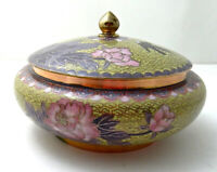 "Vintage Chinese Cloisonne Box 6"" Round w/Lid, Yellow Pink Lavender Flowers Birds"
