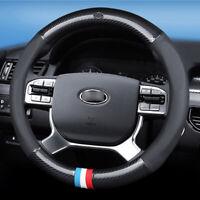15 inch black carbon fiber PVC leather car steering wheel Glove cover for KIA