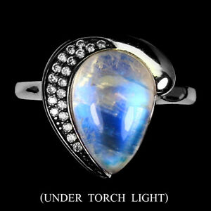Unheated Pear Moonstone 12x8mm Cz 14K White Gold Plate 925 Sterling Silver Ring
