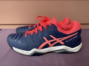 Excellent Women Asics Gel Challenger Tennis Court Shoe US 9 E753Y Navy Pink C6