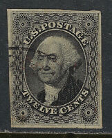 SCOTT 17 1851 12 CENT WASHINGTON REGULAR ISSUE TYPE I USED VF CAT $250!