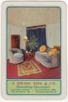 Playing Cards 1 Single Card Old SHAW Furnishers RETRO LOUNGE Advertising Art