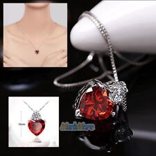 "18"" 925 Sterling Silver Red Garnet Heart Crystal Pendant Necklace Mother's Gift"