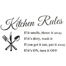 "23.6"" 3D DIY Wall Sticker Kitchen Rules Removable Quote Home Art Vinyl Decor US"