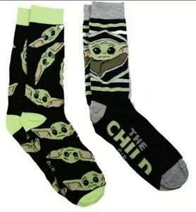 Star Wars The Mandalorian The Child 2 Pack Crew Socks Neon Green and Black NWT