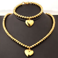 Gold Tone 6mm Stainless Steel Beads Stainless Steel Necklace Bracelet for Women