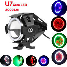 125W U7 Cree LED Angel Eye Motorcycle Headlight Drving Spot Fog light 4 Colors
