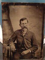 "Vintage Antique Tin Photograph distinguished man posing picture 2 1/2"" x 3 1/2"""