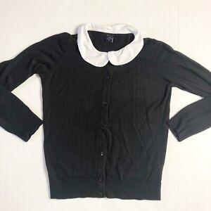 Disney Alice In Wonderland Mad Here Cardigan Sweater Peter Pan Collar Large